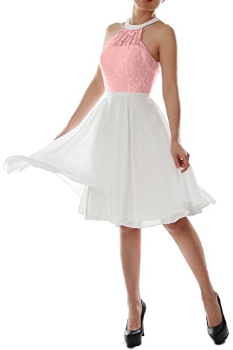 MACloth Women Halter Lace Short Wedding Party Bridesmaid Dress Homecoming Gown Blush Pink