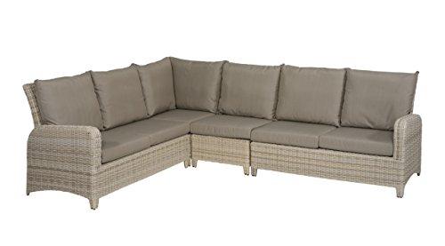 Gartenbank 5 Sitzer aus Polyrattan Geflecht beige inkl. Kissen in grau. Die Loungebank ist wetterfest, ideal für Garten, Terrasse und Balkon.
