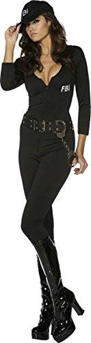 Fever Kollektion FBI Flirt Kostüm Schwarz mit Bodysuit Gürtel und Kappe, Medium (Schwarzer Bodysuit Kostüm Ideen)
