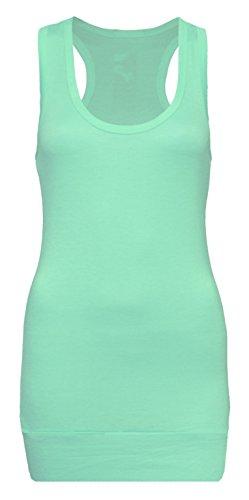 Lakinza Damen Tanktop 4 kaufen 1 extra bekommen - Unterhemd - Tank Tops - Ringertop - Ringerrücken - Trägertop - Tshirt - Mint - Mint Ringer T-shirt
