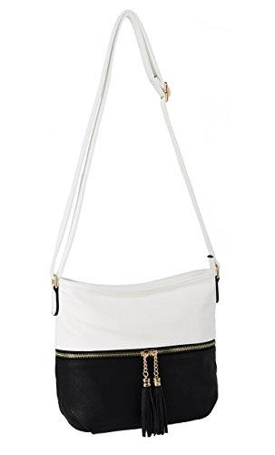 CRAZYCHIC - Damen Umhängetasche mit Fronttasche und Pompon - Weiches Leder imitat - Handtasche - Praktische Hobo Tasche - Schultertasche - Schwarz Weiß