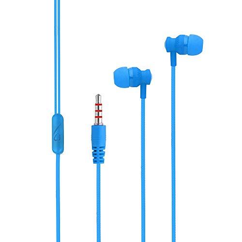 DAKERTA In Ear Kopfhörer, Stereo Ohrhörer mit Mikrofon Noise Cancelling Bass-Sound für iPhone, iPad, Samsung, Galaxy, Android, Smartphones, MP3 Players usw (Blau) -