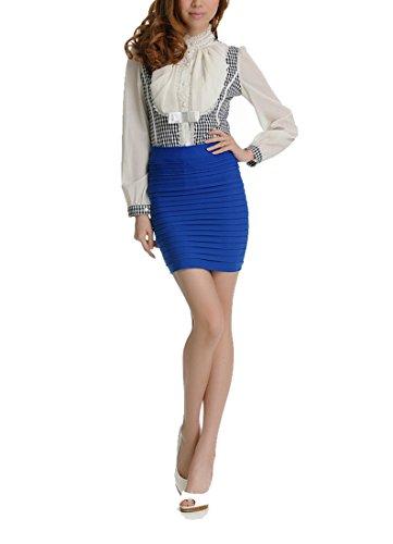 Encounter Klasse Sexy Elastisch Bleistift Rock Roecke Mini Skirt (Koenigblau)