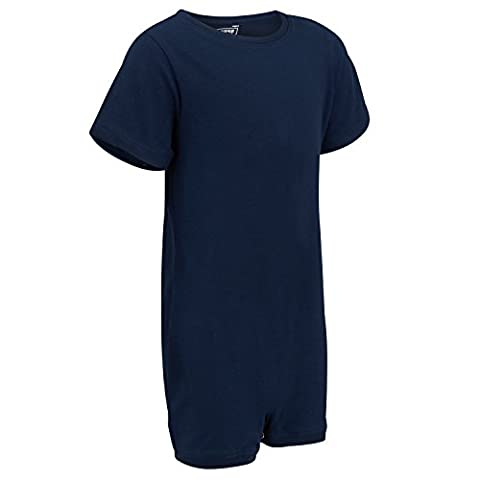 Special Needs Clothing for Older Children (3-14 yrs old) - SHORT SLEEVE Bodysuit for Boys & Girls by KayCey - NAVY (3-4 years old)