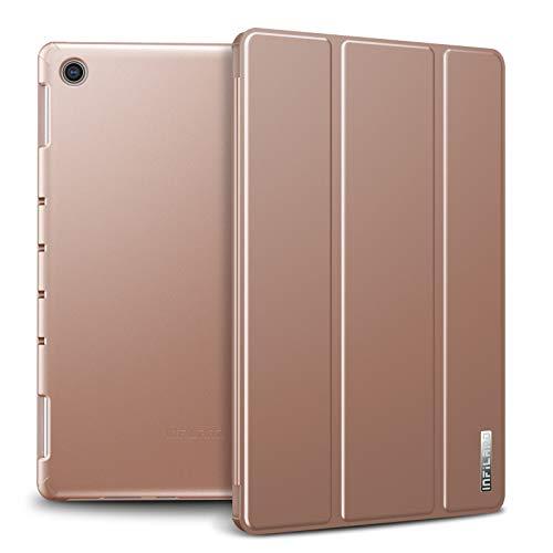 Infiland Huawei MediaPad M5 Lite 10 Hülle Case, Slim Ultraleicht PC Shell Schutzhülle Cover mit Auto Schlaf/Wach Funktion für Huawei MediaPad M5 Lite 10,1 Zoll 2018,Rosa Goldene