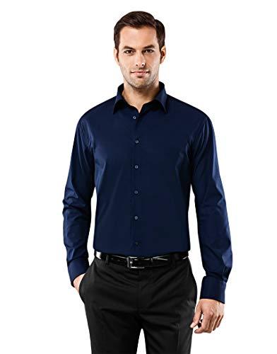 Vincenzo Boretti Herren-Hemd bügelfrei 100{2e23c4a8b5ce9d572ea6201fb4fef4e6f9520e570879f7f3f18c19a13c048b1c} Baumwolle Regular-fit New-Kent Kragen Uni-Farben - Männer lang-arm Hemden für Anzug Krawatte Business Hochzeit Freizeit dunkelblau 41/42