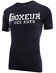 BOXEUR DES RUES T-Shirt Basica con Pugili sulle Spalle Uomo, Nero, L