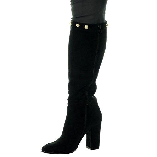Angkorly Scarpe Da Donna Stivali - Stivali Da Equitazione - Kavalier - Sexy - Flessibile - Perla - Tacco Alto Blocco Dorato Tacco 9,5 Cm Nero