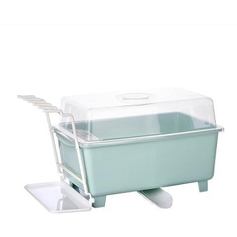 Caja de almacenaje de mercanc¨ªas de la tabla grande con tapa, bastidores de almacenamiento de informaci¨®n de cubiertos de cocina,Verde claro
