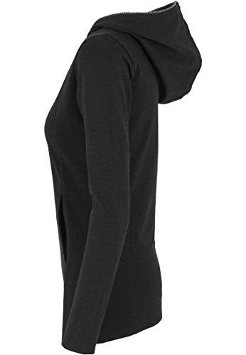 Urban classics melange pull long à capuche pour femme avec fermeture éclair Noir (Charcoal)