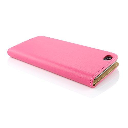 Apple iPhone 6 / 6s Handyhülle von original UrCover® in der Wallet Edition Schutzhülle Edel Case Cover Etui Grün Pink