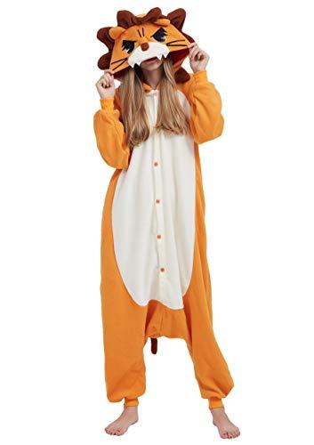 Jumpsuit Onesie Tier Karton Kigurumi Fasching Halloween Kostüm Lounge Sleepsuit Cosplay Overall Pyjama Schlafanzug Erwachsene Unisex Löwe for Höhe 140-187CM