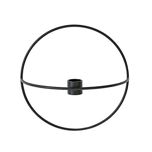 Klinkamz 3D-Kerzenhalter aus Metall zur Wandmontage, Geometrisches Teelicht, Schwarz, 19 cm