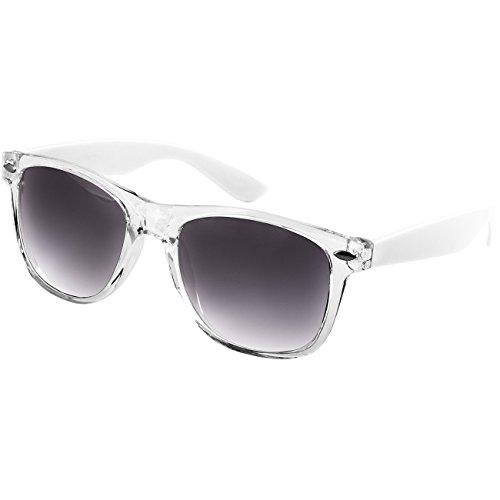 Caspar SG017 Damen RETRO Design Sonnenbrille, Farbe:weiss/schwarz getönt