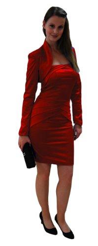 Figurbetontes Etuikleid / Cocktailkleid, Strech-Satin, schulterfrei, schmaler Schnitt, knielang, mit passendem Bolero Rot