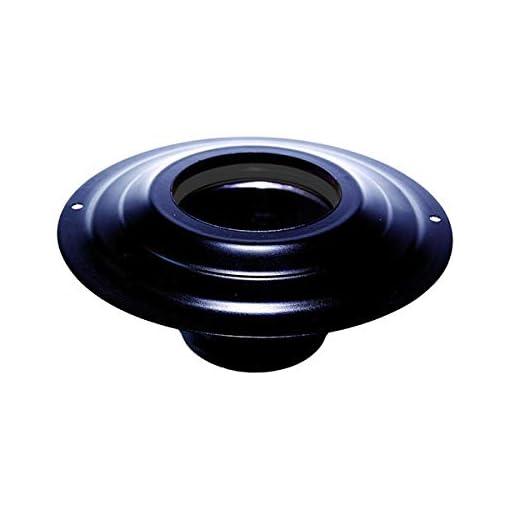Rosone con tronchetto DN 80 mm d. esterno 230 mm. in acciaio inox verniciato nero per stufa a pellet o legna tubo nero ce Made in Italy