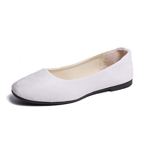 Mujer Bailarinas Básicas de Piel Sintética Zapatos Planos Ocio y Moda,Blanco,38 EU