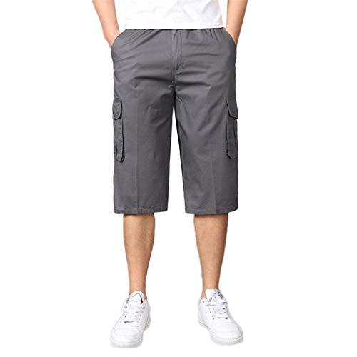 Cargo Shorts Herren Chino Kurze Hose Sommer Bermuda Sport Jogging Qmber Training Stretch Fitness Vintage Regular Fit Sweatpants Baumwolle Reißverschluss Sieben Punkt Tasche(Gray,XL) (Skinny-jeans Knöchel-zip)