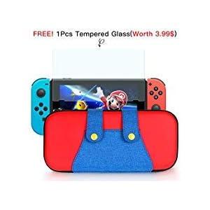 Poconic Tragetasche Kompatibel mit Nintendo Switch – Aufbewahrungstasche/- Hartschalen Case/Cover/Hülle/Schutzhülle für die Verwendung mit der Nintendo Switch Konsole & Accesoires (Blau/Rot)
