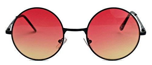 runde Retro Sonnenbrille im Lennon Stil Metallrahmen Nickelbrille Klassiker im 60er 70er Jahre Vintage Look - viele Farben LNS (Schwarz / Rosa Ombre)