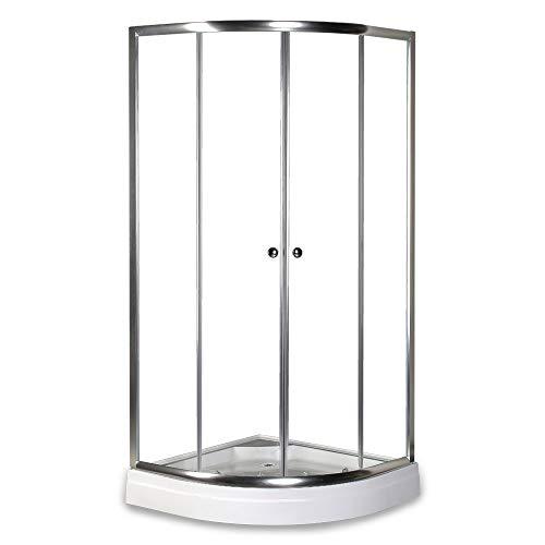 Home Deluxe - runde Duschkabine - Drop - inkl. Duschtasse und Glasaufsatz - Verschiedene Größen - 90 x 90 cm