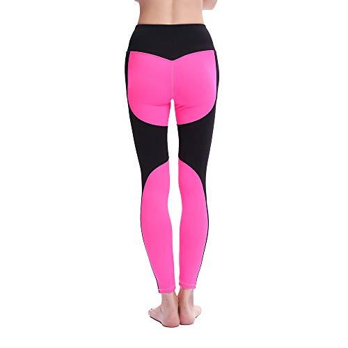 HaoLiao Leggings, New Yoga Pink Colorblock Stitching Leggings, High-elastische Quick-Trocknungssport Yoga Kleidung, Fahrrad, Jog, Tanz, Yoga, Fitness Preferred of Pants,M