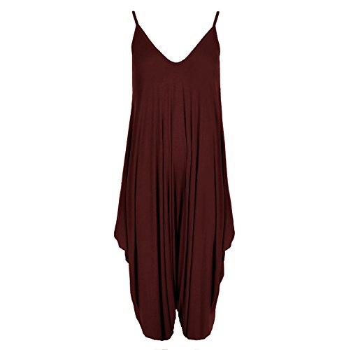 Neuf Femmes Caraco Lagenlook Barboteuse En Vrac Combinaison Sarouel Combinaison Pantalon Grande Taille Bordeaux