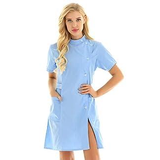 TiaoBug Unisex Batas Laboral de Trabajo para Peluquería Estética de SPA Uniforme Sanitario Empleados Profesional Casaca con Bolsillo Disfraces Adultos de Médico Enfermera