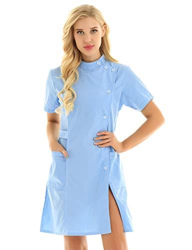 inlzdz Damen Krankenschwester Kostüm Stehkragen Labor Ärztin Kittel Kleid Minikleid Arztmantel Frauen Medizinische Berufsbekleidung Himmelblau Medium - Wissenschaftler-kittel