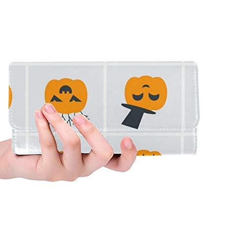 rdefinierte Sammlung Halloween Icons Kürbisse Frauen Trifold Wallet Lange Geldbörse Kreditkarteninhaber Fall Handtasche ()