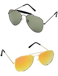 Amour-propre Yellow Mercury Aviator And Black Lens Silver Frame Aviator Sunglasses Combo