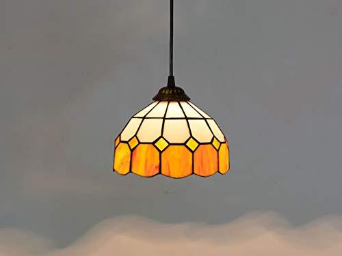 Tiffany Style Pendelleuchte Warmes Licht Orange Glasmalerei Vintage Hängelampe Kronleuchter Lichter for Esszimmer Schlafzimmer Wohnzimmer Korridor Gang Deckenleuchte -