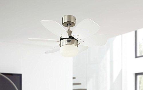 316EsQk7uxL - Westinghouse Lighting 78788 Flora Royale One-Light 76 cm Six Indoor Ceiling Fan, Opal Frosted Glass, Satin Chrome Finish…