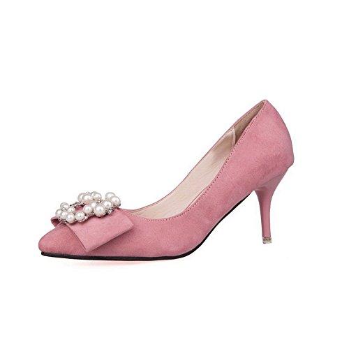 AalarDom Femme Suédé Couleur Unie Stylet Pointu Chaussures Légeres Rose-Bijou