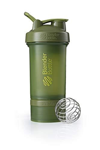 BlenderBottle ProStak Shaker | Protein Shaker| Fitness Shaker | BPA frei | mit BlenderBall | inkl. 2 Containern 150ml & 100ml +1 Pillenfach | 650ml - Moss Green 3 Cup Container