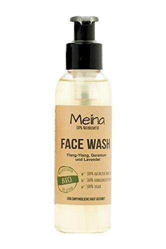 Meina – Reinigungsgel – Face Wash mit Ylang-Ylang, Geranium und Lavendel – Bio Facial Cleanser – Naturkosmetik Waschgel gegen Pickel, Akne und Mitesser – Vegan – 120ml