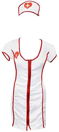 com-four® Kostüm Set Sexy Krankenschwester für Fasching oder Halloween, Farbe: weiß/rot, Größe: M (01 Stück - Krankenschwester ()