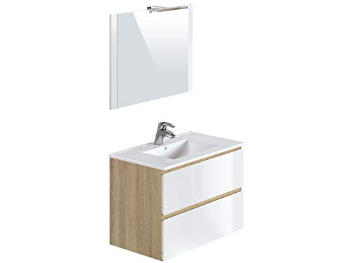 Marque Amazon -Movian Argenton - Meuble de salle de bain avec miroir et lavabo, 81x46,5x57cm, Marron