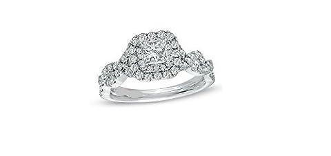 Love Collection 2.42CT Princesse Diamant rond Saphir bleu Argent sterling 925Bague de fiançailles, tous les Taille H à Z