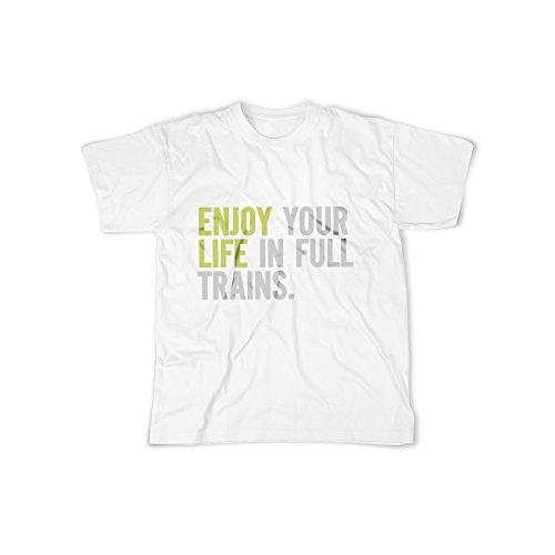 Aufdruck in Weiß Gr. XXL Enjoy Your Life In Full Train Design Boy Top Jungs Shirt Herren Basic 100% Baumwolle kurzarm (Märchen-zug)