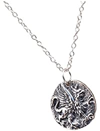 Sterling Silver Coin Griffin Lion Pendant Necklace Ancient Eagle Beast