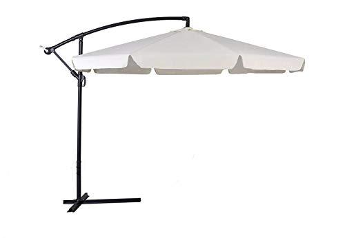 Ombrellone retrattile 3x3 da giardino per esterni con braccio laterale rotabile 360°, struttura inossidabile ed ombrello in poliestere anti-strappo resistente ai raggi UV e con feritoie di areazione.