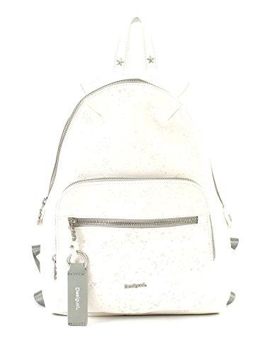 Desigual Rucksack Schulrucksack METALLIC Splatter Lima ca. 8L Weiß 18SAXPD0-1001