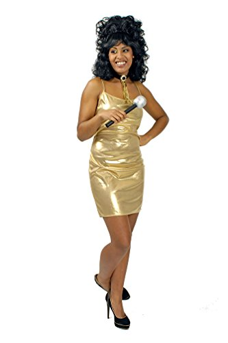 ,Karneval Klamotten' Kostüm Sexy Disco 70er Jahre Kleid Dame gold Karneval Silvester Damenkostüm (Themen Party 70er Jahre)