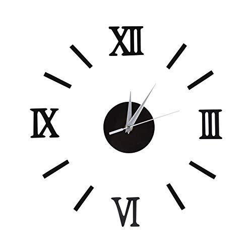 Orologio da parete 3d adesivi murali impermeabile diy orologio a muro silenzioso fai da te moderno digitale orologio decorativo per casa ufficio 50cm(black)