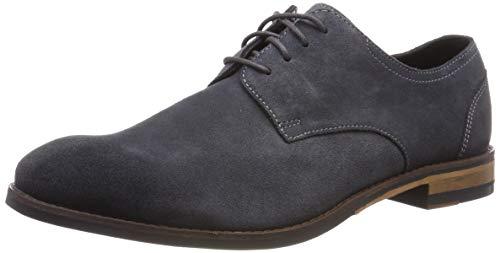 Clarks Herren Flow Plain Derbys, Grau (Dark Grey Suede), 42.5 EU Wildleder Schuhe