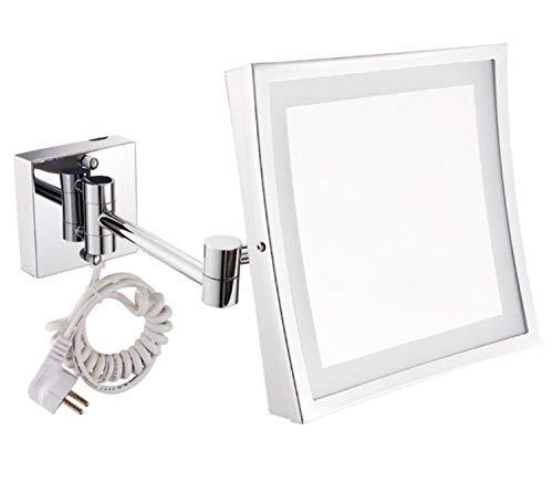 KIEYY Platz Kupfer Wand Led Badezimmerspiegel Kosmetikspiegel Falten 3X Vergrößerungs Make-Up Spiegel, Z