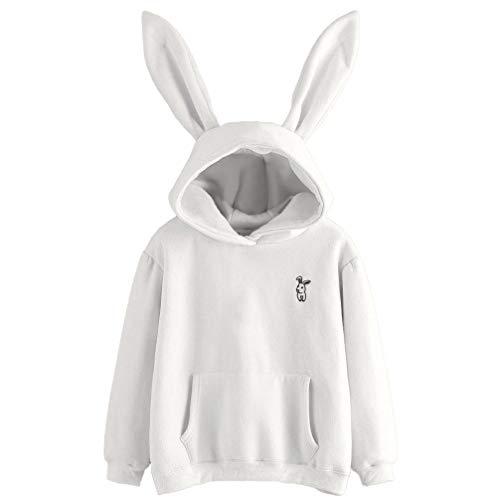 DAYLIN Mujer Moda Conejo Bordado Sudaderas con Capucha Jersey de Mangas Largas Tops Otoño Blusa (XL, Blanco)