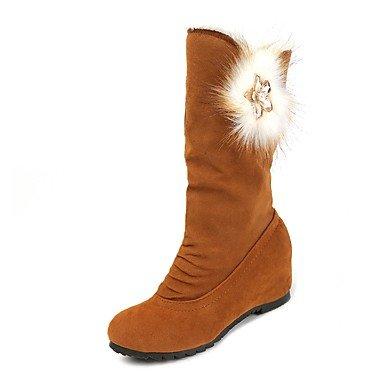 RTRY Scarpe Donna Nabuck Pelle Pu Inverno Comfort Moda Stivali Stivali Punta Tonda Per Casual Vino Nero Marrone US6 / EU36 / UK4 / CN36