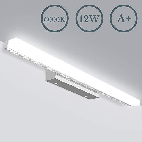LED Spiegelleuchte - Badezimmer 12W Badlampe JSLHT Wandleuchte Badleuchte Wandlampe Bad 6000K Wasserdichte Edelstahl 50cm Spiegellampe 800lM Neutralweiß Aufbauleuchte